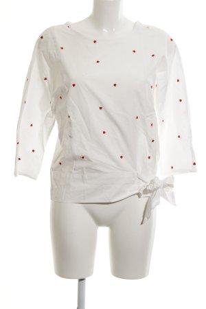 Oui Oversized Bluse weiß-dunkelrot Herzmuster Romantik-Look