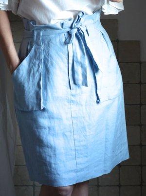 Oui High Waist Skirt azure linen