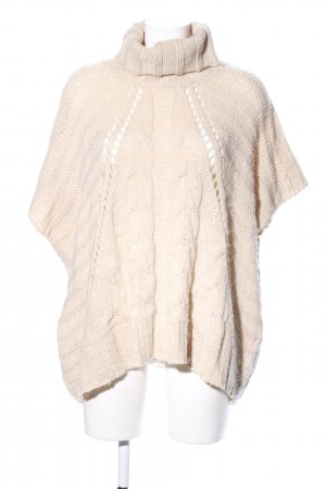 Oui Poncho wollweiß Zopfmuster Casual-Look