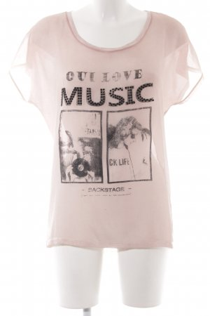 Oui Print-Shirt altrosa Motivdruck Transparenz-Optik