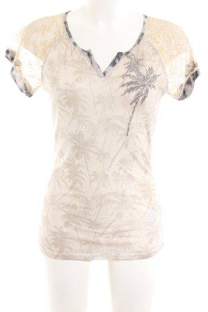 Oui Print-Shirt creme-hellgrau Blumenmuster Casual-Look
