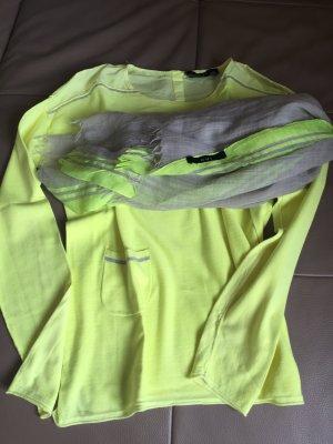 Oui Pulli mit Tuch im Set in gelb grau