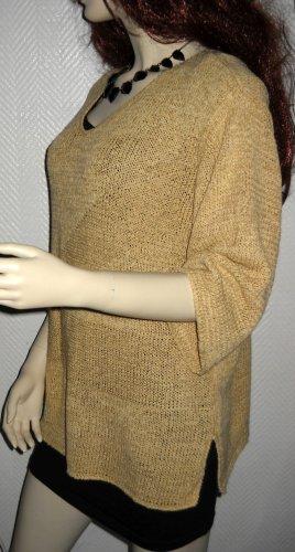 OUI Pulli Pullover camel beige sand Baumwolle Seide S M L 36 38 40 oversized TOP