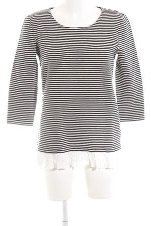 Oui Ringelshirt schwarz-weiß Streifenmuster Casual-Look