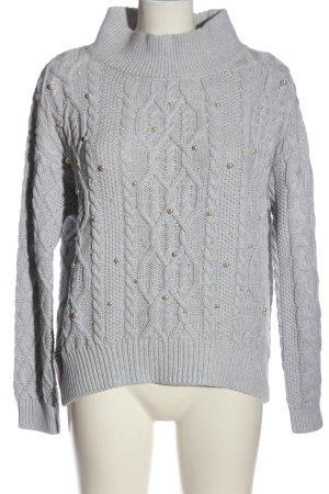 Oui Pull tricoté gris clair torsades style décontracté