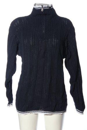 Oui Rollkragenpullover schwarz-weiß Zopfmuster Casual-Look