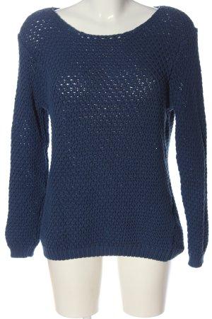Oui Pull tricoté bleu torsades style décontracté
