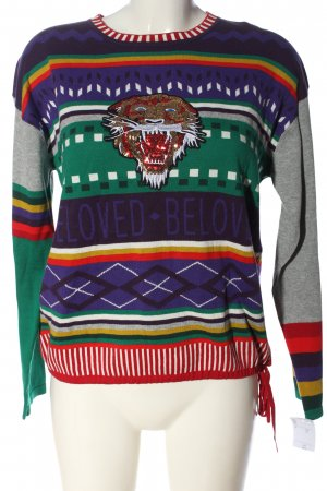 Oui Rundhalspullover grafisches Muster Casual-Look