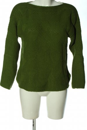 Oui Rundhalspullover khaki Zopfmuster Casual-Look