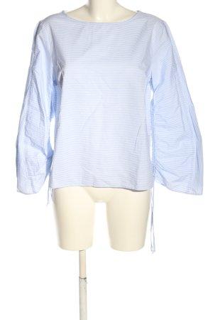 Oui Blouse à enfiler blanc-bleu motif rayé style décontracté