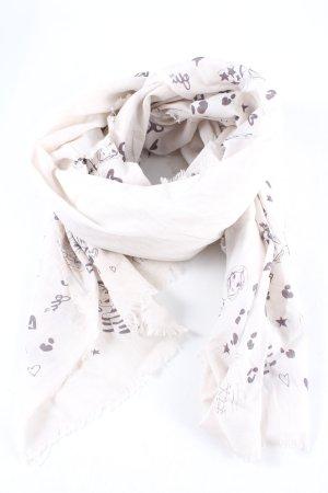 Oui Chusta na ramiona w kolorze białej wełny-jasnoszary Nadruk z motywem