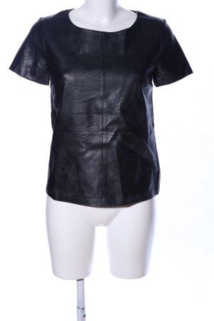 Oui Set Lederbluse schwarz extravaganter Stil