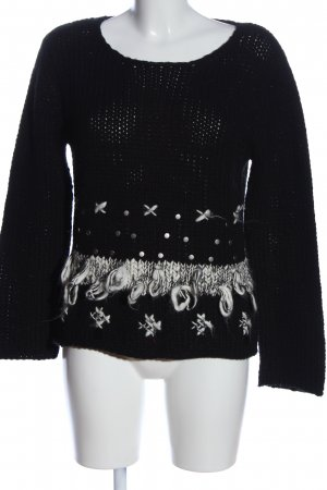 Oui Set Kraagloze sweater zwart-wit abstract patroon casual uitstraling