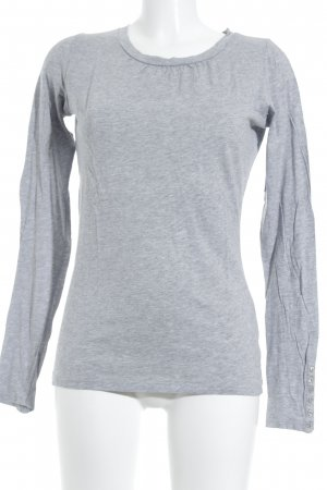 Oui Set Jersey de cuello redondo gris moteado estilo sencillo
