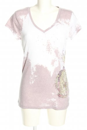 Oui Set T-Shirt pink-weiß abstraktes Muster Casual-Look