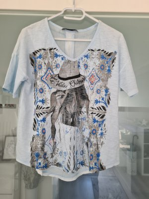 Oui Shirt hellblau mit Print Gr.34
