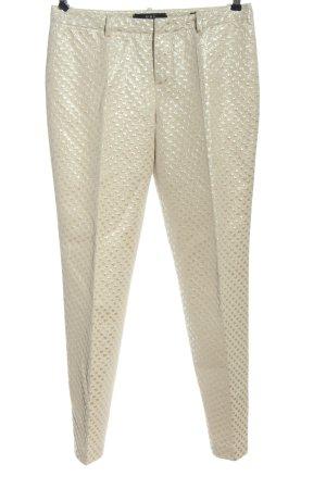 Oui Pantalon en jersey crème-argenté imprimé allover style décontracté