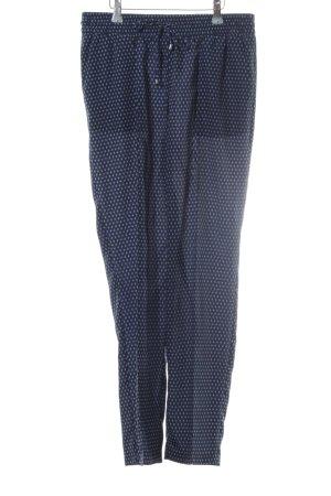 Oui Stoffhose dunkelblau-stahlblau grafisches Muster Casual-Look