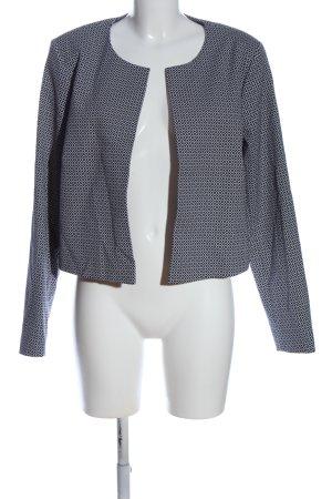 Oui Gebreide blazer blauw-wit volledige print casual uitstraling
