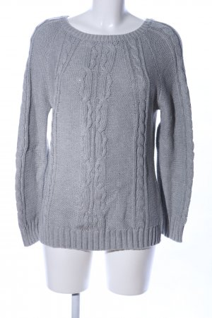 Oui Strickpullover hellgrau Zopfmuster Business-Look