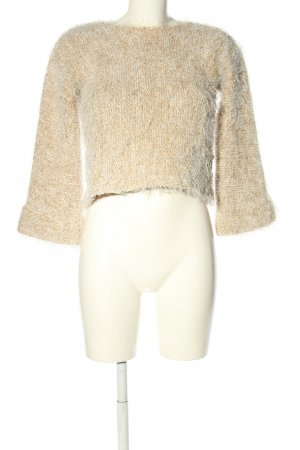 Oui Strickpullover creme meliert Casual-Look