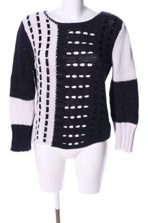 Oui Strickpullover schwarz-weiß grafisches Muster Casual-Look