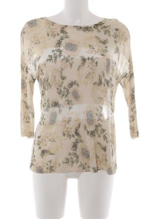 Oui Strickpullover hellgelb-grasgrün florales Muster Romantik-Look
