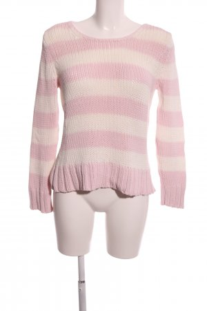 Oui Strickpullover pink-creme Streifenmuster Casual-Look