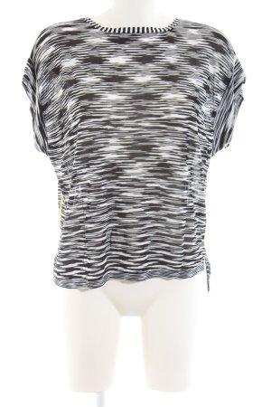 Oui T-shirts en mailles tricotées noir-blanc style décontracté