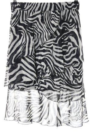 Oui Broomstick Skirt light grey-black animal pattern animal print
