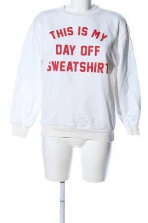 Oui Sweatshirt wollweiß-rot Motivdruck Casual-Look
