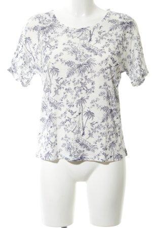 Oui T-Shirt weiß-blau Allover-Druck Casual-Look