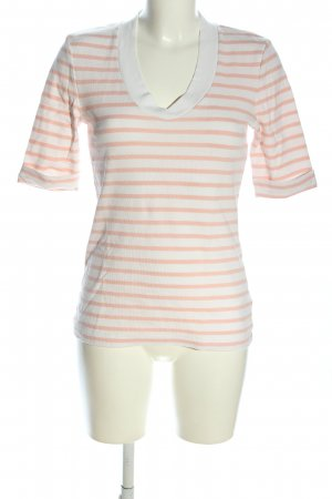 Oui T-Shirt creme-nude Streifenmuster Casual-Look