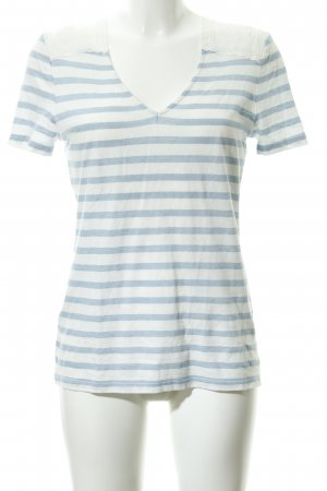 Oui T-Shirt weiß-himmelblau Blumenmuster Casual-Look