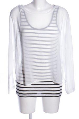 Oui Transparenz-Bluse weiß-schwarz Streifenmuster Casual-Look