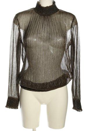 Oui Transparenz-Bluse braun meliert extravaganter Stil