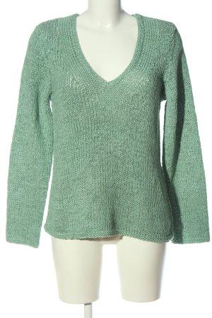 Oui V-Ausschnitt-Pullover braun Webmuster Casual-Look