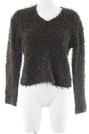 Oui V-Ausschnitt-Pullover braun-schwarzbraun Webmuster Casual-Look