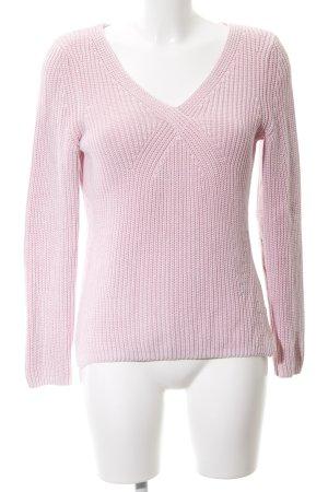 Oui V-Ausschnitt-Pullover rosé-hellrosa Casual-Look