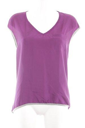 Oui V-Ausschnitt-Shirt lila-silberfarben Casual-Look