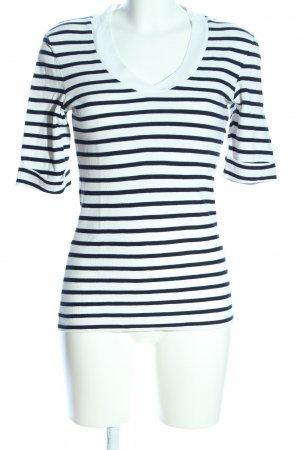 Oui V-Ausschnitt-Shirt schwarz-weiß Streifenmuster Casual-Look