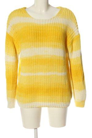 Oui Warkoczowy sweter bladożółty-w kolorze białej wełny Abstrakcyjny wzór