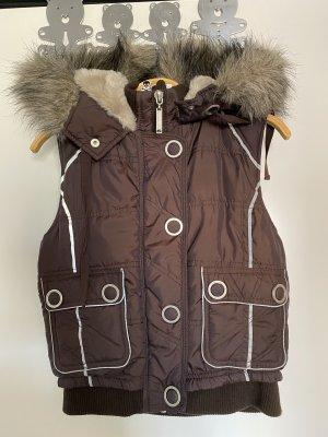 Chaleco con capucha marrón-marrón oscuro