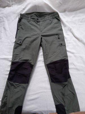 Pantalon taille basse ocre-vert olive