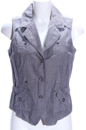 Denim Vest silver-colored striped pattern casual look