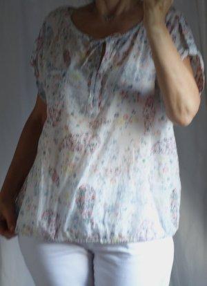 Outfit Classic, leichte, zarte Bluse mit Blumensprint, weiß, zarte Pastellfarben, Rundhals, Bändchen, am Saum Gummizug, Kurzarm, luftig, leicht, Baumwolle, guter Zustand, Gr. 46