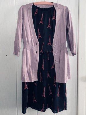 Outfit Set, Kleid & Strickjacke Rosé - Pink, schwarz