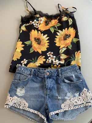 Outfit Sommer zara Jeans shorts Satin cami