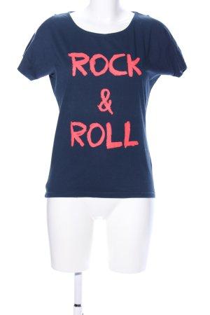 Outfitters nation T-Shirt blau-pink Schriftzug gedruckt Casual-Look