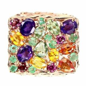 Ovaler Amethyst 5x4mm Smaragd Saphir 925 Sterling Silber Ring Größe 57